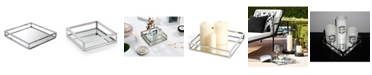 Classic Touch Small Square Mirrored Tray with Chrome Rails
