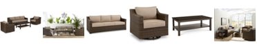 Furniture Camden Outdoor Wicker 4-Pc. Seating Set (1 Sofa, 2 Swivel Chairs & 1 Coffee Table), Created for Macy's