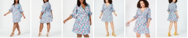 Betsey Johnson Plus Size Floral Printed Ruffled-Sleeve Dress