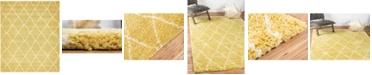 Bridgeport Home Fazil Shag Faz3 Yellow 8' x 10' Area Rug