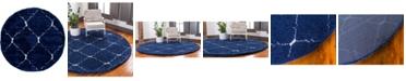 Bridgeport Home Fazil Shag Faz5 Navy Blue 5' x 5' Round Area Rug