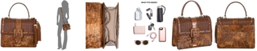 Brahmin Mini Francine Tamarind Jennings Embossed Leather Satchel