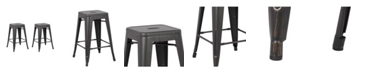 Ac Pacific Backless Industrial Metal Bar Stool, Set of 2