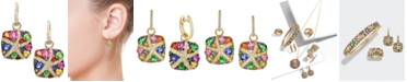 EFFY Collection Watercolors by EFFY® Multicolor Sapphire (3-1/3 ct. t.w.) and Diamond (1/4 ct. t.w.) Starfish Earrings in 14k Gold, Created for Macy's