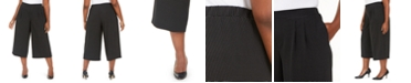 Anne Klein Plus Size Printed Cropped Wide-Leg Trousers