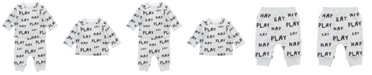 Mac & Moon Baby Boy and Girl 2-Piece Eat, Play, Nap Long Sleeve Tee and Pant Outfit Set