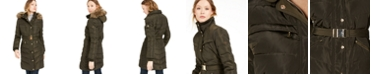 Michael Kors Belted Faux-Fur-Trim Down Puffer Coat, Created for Macy's