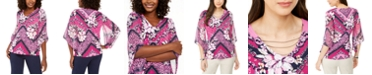 JM Collection Chiffon-Sleeve Printed Tunic Top, Created for Macy's