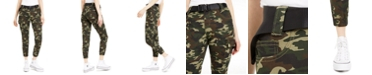 Almost Famous Juniors' Printed Seat-Belt Cargo Jogger Pants