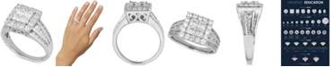 Macy's Diamond Princess Cluster Engagement Ring (2 ct. t.w.) in 14k White Gold