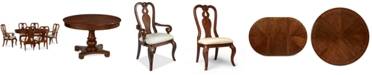 Furniture Closeout! Bordeaux 7-Piece Round Dining Room Furniture Set (Round Pedestal Dining Table, 4 Queen Anne Side Chairs & 2 Arm Chairs)