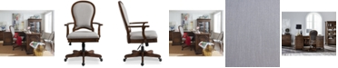 Furniture Clinton Hill Cherry Home Office Round Back Upholstered Desk Chair, Created for Macy's