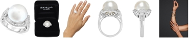Macy's Cultured South Sea Pearl (13mm) & Diamond (1/3 ct. t.w.) Ring in 14k White Gold