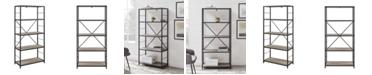 "Walker Edison 60"" Rustic Metal and Wood Media Bookshelf - Grey Wash"