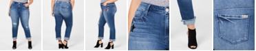 Seven7 Jeans Trendy Plus Size Sequin-Patch Slim-Straight-Leg Jeans
