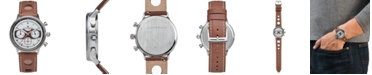 Lucky Brand Men's Chrnongraph Fairfax Racing Tan Perforated Leather Strap Watch 40mm