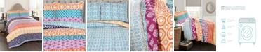 Lush Decor Bohemian Stripe 3-Piece Reversible King Quilt Set
