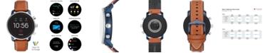 Fossil Men's Tech Explorist Gen 4 HR Brown Leather Strap Touchscreen Smart Watch 45mm, Powered by Wear OS by Google™