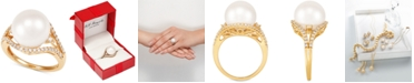 Honora Cultured White Ming Pearl (12mm) & Diamond (1/3 ct. t.w.) Ring in 14k Gold
