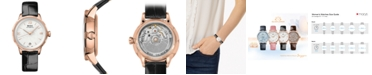 Mido Women's Swiss Automatic Rainflower Black Leather Strap Watch 34mm, Created For Macy's