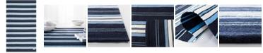 Lauren Ralph Lauren Leopold Stripe LRL2462A Navy 4' X 6' Area Rug