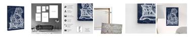 "Oliver Gal Julianne Taylor - Foo Dog Midnight Canvas Art, 16"" x 24"""