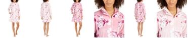 Miss Elaine Women's Fleece Floral-Print Zipper Short Robe