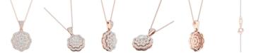 """Macy's Diamond Flower Pendant Necklace (3/4 ct. t.w.) in 14k Rose & White Gold, 16"""" + 2"""" extender"""