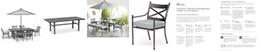 "Furniture Montclaire Outdoor Aluminum 7-Pc. Dining Set (84"" X 42"" Table & 6 Dining Chairs) With Sunbrella® Cushions, Created for Macy's"