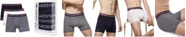 Lacoste Men's Stretch Cotton Boxer Brief Set, 3-Piece