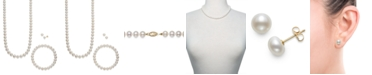 Macy's Cultured Freshwater Pearl 3 Piece Set, Necklace, Earrings and Bracelet