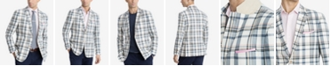 Tommy Hilfiger Men's Modern-Fit Cream/Navy Madras Plaid Sport Coat