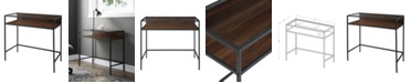 Walker Edison 35 inch Metal and Wood Compact Desk wtih Glass in Dark Walnut