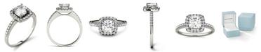 Charles & Colvard Moissanite Cushion Halo Ring (1-3/8 ct. tw. Diamond Equivalent) in 14k White Gold
