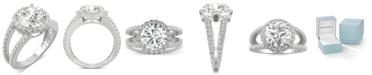 Charles & Colvard Moissanite Round Split Shank Halo Ring (3-3/8 ct. tw. Diamond Equivalent) in 14k White Gold