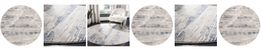 """Safavieh Meadow Gray and Ivory 6'7"""" x 6'7"""" Round Area Rug"""