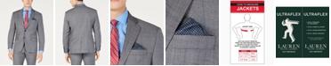 Lauren Ralph Lauren Men's Classic-Fit UltraFlex  Stretch Gray/Blue Windowpane Suit Jacket
