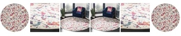 "Safavieh Evoke Ivory and Red 6'7"" x 6'7"" Round Area Rug"