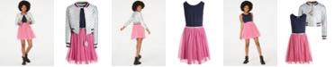 Beautees Big Girls Quilted Bomber Jacket & Belted Skater Dress Set