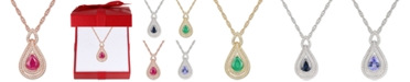 "Macy's Certified Ruby (1-1/4 ct. t.w) or Sapphire (1-1/4 ct. t.w.) or Tanzanite (1 ct. t.w.) or Emerald (1 ct. t.w.) & Diamond (1/4 ct. t.w.) 18"" Pendant Necklace in 14k Rose Gold or 14k White Gold or 14k Gold"