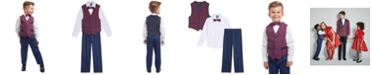 Nautica Toddler Boys Regular-Fit 4-Pc. Blue Tartan Vest Set