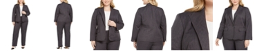 Le Suit Plus Size Striped Pantsuit