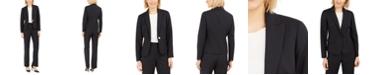 Le Suit Petite Pinstripe One-Button Pantsuit