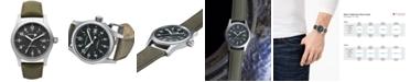 Hamilton Watch, Men's Swiss Mechanical Officer Green Canvas Strap 38mm H69419363