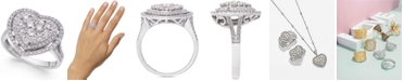 EFFY Collection EFFY® Pavé Classica Diamond Heart Ring (1-1/8 ct. t.w.) in 14k White Gold