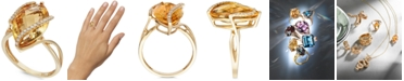 EFFY Collection Gemma by EFFY® Marquise-Cut Citrine (8-1/2 ct. t.w.) and Diamond (1/8 ct. t.w.) Wrap Ring in 14k Gold