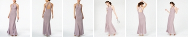 Nightway Glitter-Knit Teardrop Gown