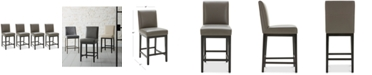 Furniture Tate Leather Parsons Stool, 4-Pc. Set (4 Graphite Counter Stools)