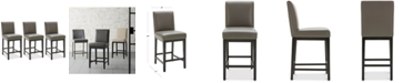 Furniture Tate Leather Parsons Stool, 3-Pc. Set (3 Graphite Counter Stools)
