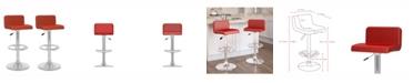 CorLiving Low Back Adjustable Barstool in Leatherette, Set of 2